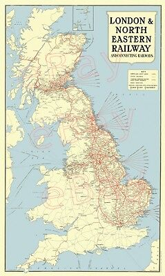 Reproduction LNER railway network map/poster
