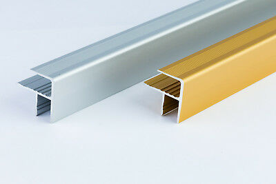 Aluminium stair nosing F profiles - 100 cm length - GOLD and SILVER