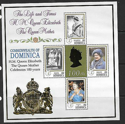 DOMINICA SG2666a 1999 100th BIRTHDAY OF QUEEN MOTHER SHEETLET MNH