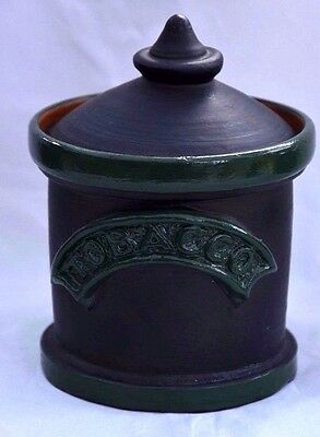 """Small Pottery Tobacco Jar Box approx 5x4 """" Painted Black and Green"""