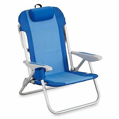 Backpack Beach Chair 5-Position in Blue Color with Durable Steel Aluminum Frame