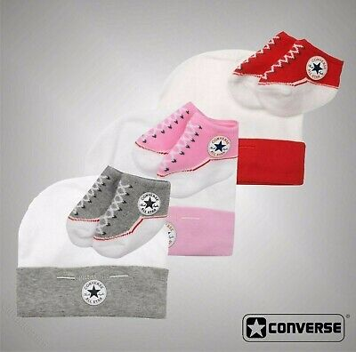 Baby Boys Girls Converse Logo Classic Cute Hat And Bootie Gift Set Size 0-6 Mnth
