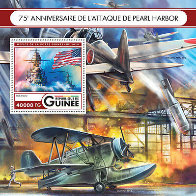 Guinea 2016 MNH WWII Pearl Harbor Attack 75th Anniv 1v S/S Ships Aviation Stamps