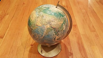 Vintage Rand Mcnally World Portrait Globe 3D Raised Relief Topography Metal Base