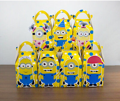 Minions Lolly Party Favour Boxes Themed Kids Birthday Bags Supplies Decorations