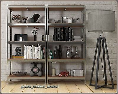 Large Industrial Bookcase Metal Rack Tower Unit 5 Storage Shelves Home Office UK