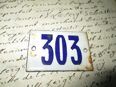 """Antique French Enamel Metal Door House -Gate Number Sign white& blue """"303"""""""