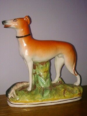 Antique Staffordshire Greyhound / Whippet with Hare