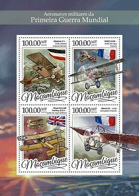 Mozambique 2016 MNH WWI Military Aircraft 4v M/S Aviation World War I Stamps