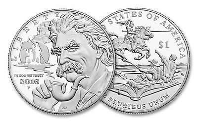 Mark Twain 2016 $1 Silver Proof Coin, U.S. Mint Presentation Box and COA