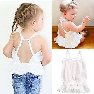Cute Toddler Infant Baby Girl Clothes Halter Ruffles Lace Hem Blouse T-shirt Top