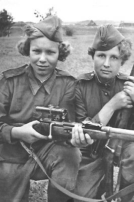 OLD photo 15x10 cm WW2. Women on the War Russian Woman Snipers USSR (4484)