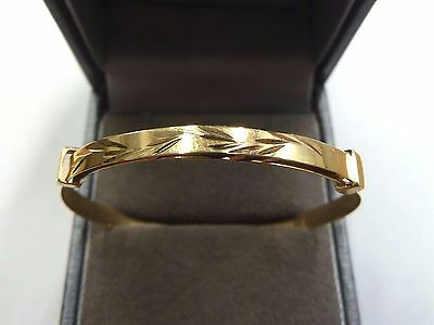 New 9ct Yellow Gold Patterned Expanding Bangle * Christening Gift *