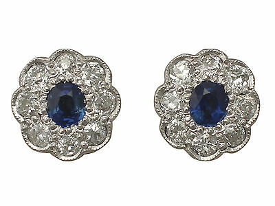 0.92 ct Sapphire and 1.02 ct Diamond, 18 ct White Gold Stud Earrings - Antique