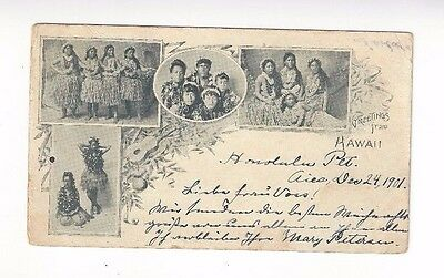 1901 Greetings from Hawaii, Private Mailing Card, Four Views of Hawaiian Ladies