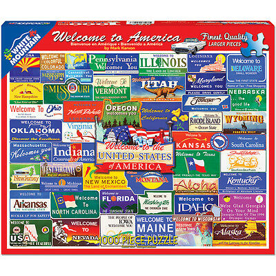 """Jigsaw Puzzle 1000 Pieces 24""""X30"""" Welcome To America WM1145"""