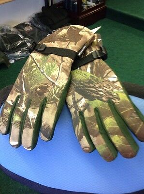 Shooting Gloves Camo Leather Palm Thinsulate Green Stalking Glove Size S
