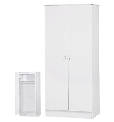 White High Gloss Two Tone 2 Door Double Mirrored Wardrobe Bedroom Furniture Unit