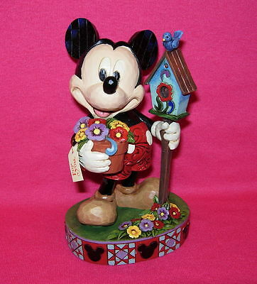 Disney Showcase FOR YOU Mickey Mouse with flowers & birdhouse Jim Shore Enesco