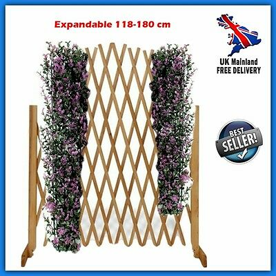 Plant Support Trelis Wood Fence Outdoor Garden Climbing Flower Decor Expandable