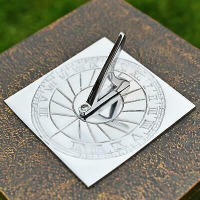 Bright Chrome Rising Sun Garden Sundial 120mm In Diameter