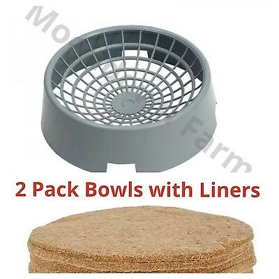 2 x Pigeon Clay Nesting Bowls with Jute Liners For Nesting Pigeons