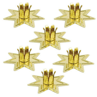 """Set of 6 Gold Fairy Star Chime Candle Holders for 4"""" Mini Taper Six Pack Holder"""