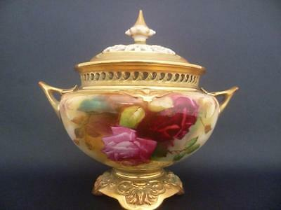 Royal Worcester Hadley Red & Pink Roses  Pot Pourri Vase & Cover Sign W Austin