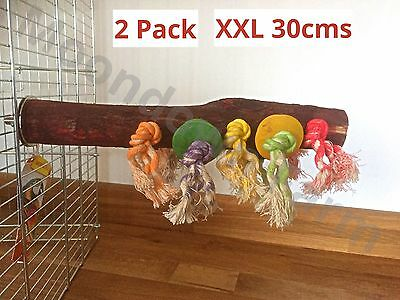 2 PACK Bird Perch Wood Rope 300mm X 40mm Parrots, Cockatiel, Parakeet, Exotics