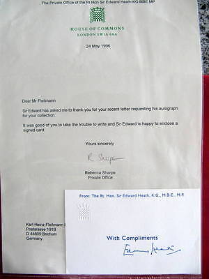 Sir Edward Heath - *SIGNED*  Card - British Prime Minister - Tory Party