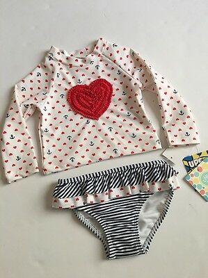 Little Me Baby Girl Two Piece Rashguard Swimsuit Size 18 24 Months Nautical