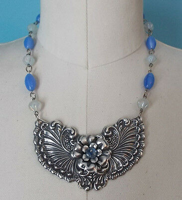 Big Bold Runway Plaque Silver Plated Flower Necklace Vintage Blue Beads