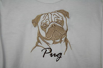 Pug Dog Embroidered On A XLarge White T-Shirt