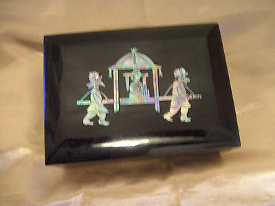 A Lovely Black Laquer Box Inlaid With Mother Of Pearl Korean