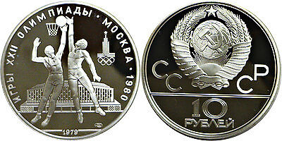 1979 (l) Russia 10 Roubles Silver Basketball Proof Y# 168