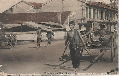 Singapore:Chinese Coolies At Keppel Harbour Posted 1919 473
