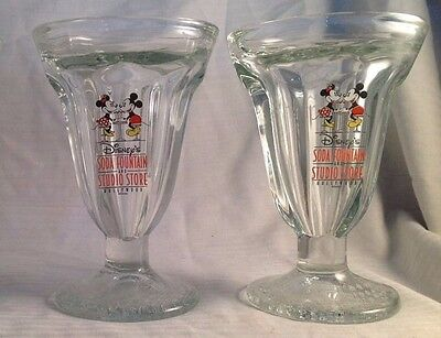 Disney Set of 2 Mickey Mouse Soda Fountain Studio Store Glasses Hollywood  C6