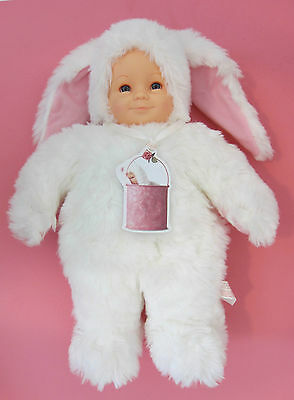 "Anne Geddes ~BABY BUNNY DOLL w/TAG~ 15"" ~BLUE EYES~PINK EARS~RABBIT 1990'S EUC"