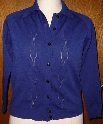 EILEEN VTG 60s Blue Lightweight Pointelle Knit Cable Front Cardigan Sz Small