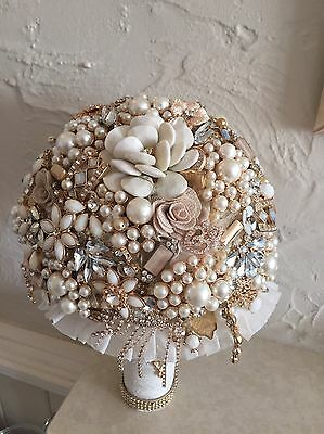 Gold Cream And Blush Brides Full Brooch Vintage Wedding Flowers Bouquet