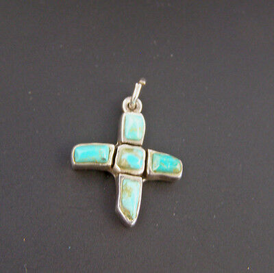 Sterling Silver Turquoise Blue Small Cross Pendant or Charm Southwestern