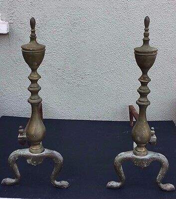 Antique Vintage Fireplace Andirons Pair Cast Iron & Brass Mid Century Rustic