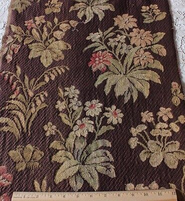 French Victorian Floral Botanical Tapestry Jacquard Home Textile Fabric c1890