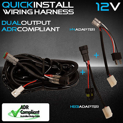 12V Dual Car LED Driving Light Wiring Loom Harness High Beam Quick Fit Narva LLA