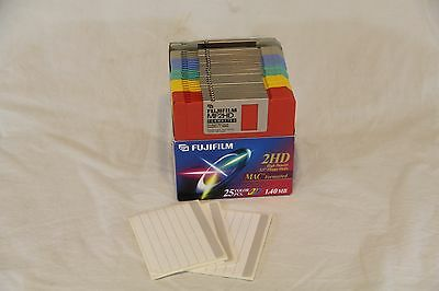 "NEW Open Box 25 Color FujiFilm High Density 2HD 3.5"" Floppy Disks MAC Formatted"