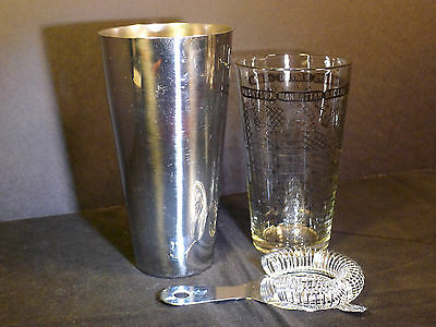 Vintage Boston Cocktail Shaker Federal Glass Recipe Mixing Cup & Strainer Set