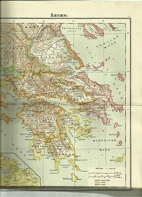 1921 Dated Color Atlas pagesofGreece, Greece settlements, Atheny,Troya,Akropolis