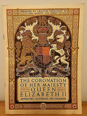 THE CORONATION OF HER MAJESTY QUEEN ELIZABETH 11 APPROVED SOUVENIR PROGRAMME (k8