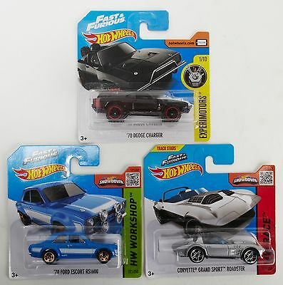 Hot wheels Fast & Furious Set of 3 - Escort RS1600 - 70 Dodge Charger - Corvette
