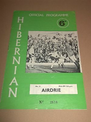 Hibernian V Airdrie Scottish League Football Programme 1960's